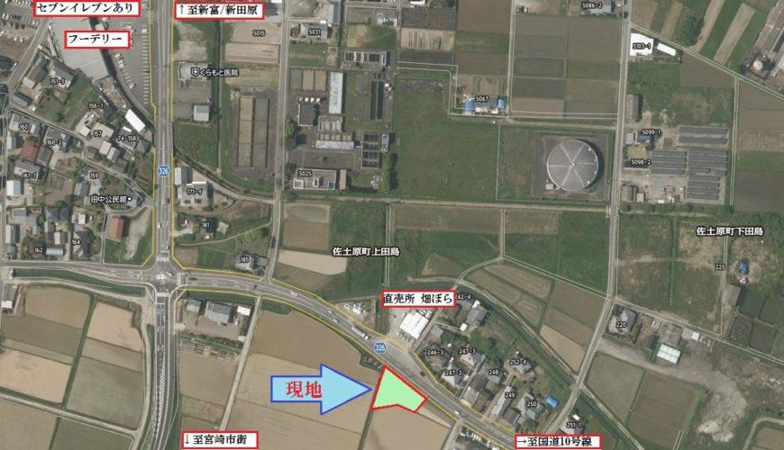 北側に12m超の県道が通っています(地図)