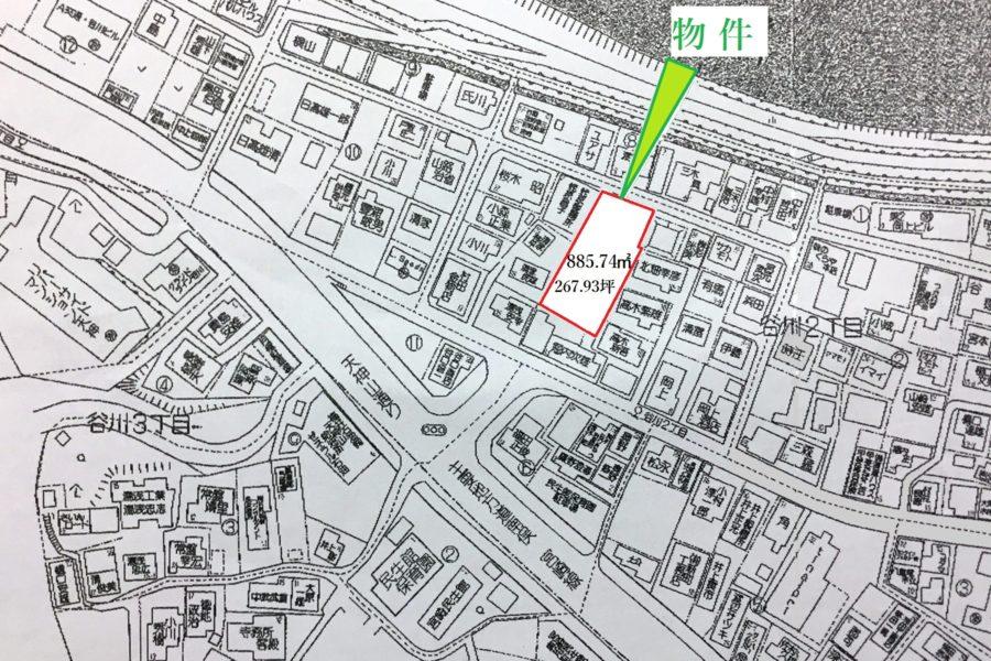車通りから一歩入った住宅地の中の土地(地図)