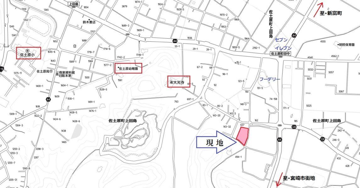 佐土原小校区の利便性のある場所(地図)