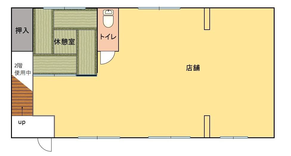 トイレ、休憩室付。19坪の広さ(間取)